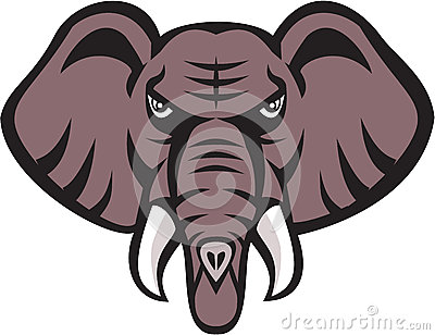 African Elephant Head Angry Tusk Retro Vector Illustration