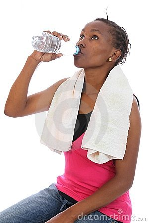 African Exercise Girl Drinking Water