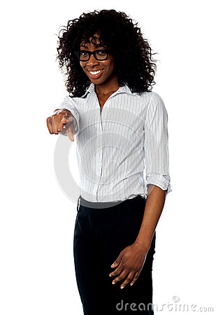 African female manager pointing at you