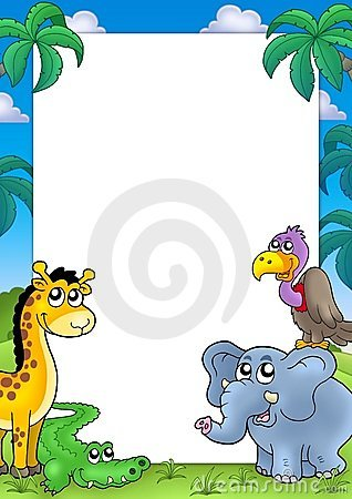 African frame with animals 1