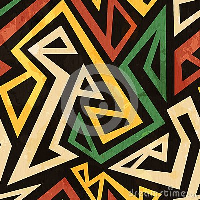 African geometric seamless pattern with grunge effect Vector Illustration
