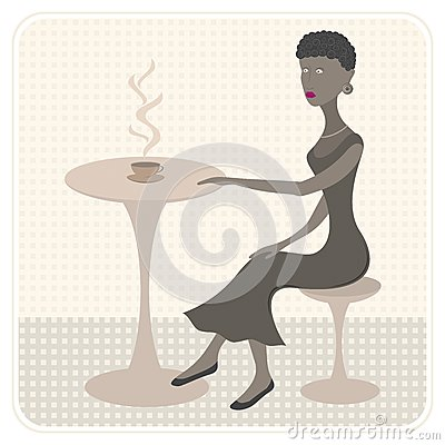 African girl in cafe