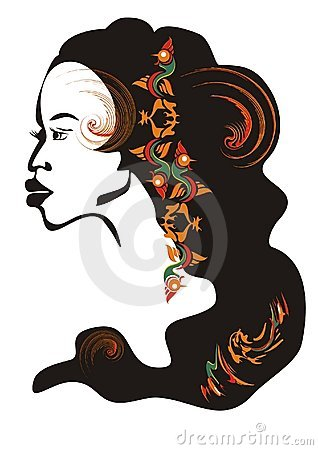 African girl face. Vector illustration