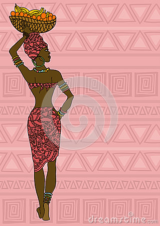 African girl with fruit basket on the head