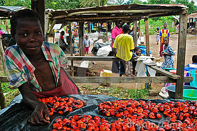 African Girl in Market Editorial Stock Photo