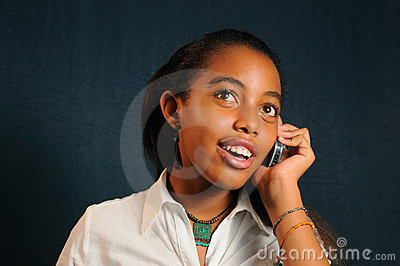 African girl using cell phone