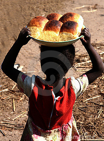 Free African Girl With Bread Buns Royalty Free Stock Photos - 4983098
