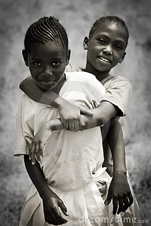 African girls children smile together Editorial Stock Photo