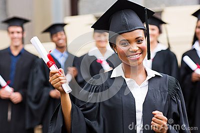 African graduate at ceremony