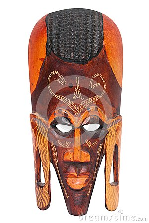 African hand carved wooden warrior Maasai mask