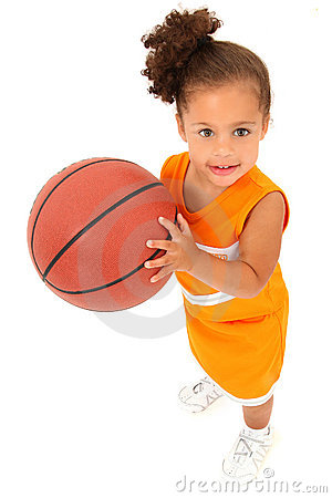 African-Hispanic Girl Child Basketball Player