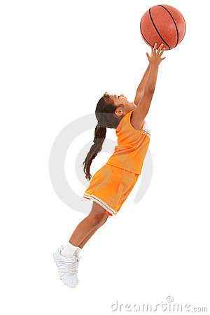 Free African-Hispanic Girl Child Catching Basketball Royalty Free Stock Images - 20165119