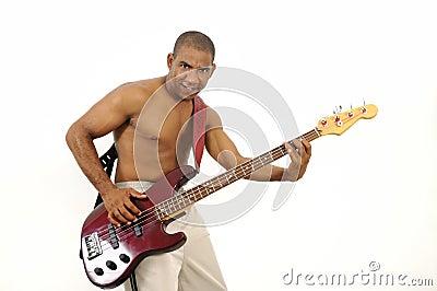 African hispanic man playing bass guitar