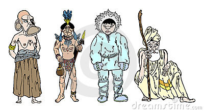 African, Indian, Eskimo and Hind