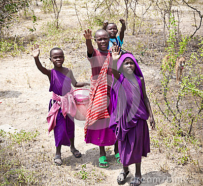 Free African Kids Of Masai Tribe Village. Tanzania. Royalty Free Stock Photos - 43321208