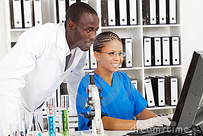 African lab workers