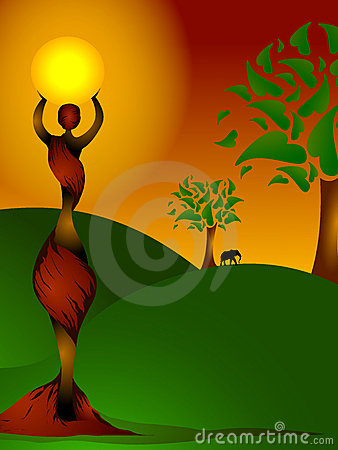 African lady holding the sun