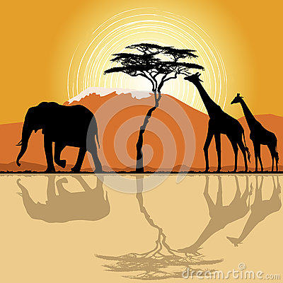 African landscape with giraffes and elephant.