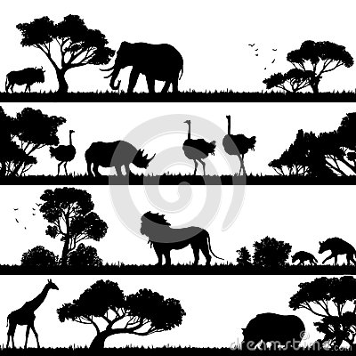 Free African Landscape Silhouette Royalty Free Stock Photography - 52279377