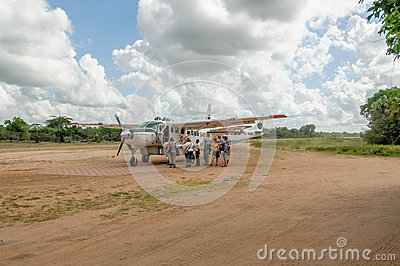 African landscapes - Tourism at Selous Game Reserve, Tanzania Editorial Stock Image