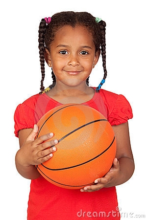 Free African Little Girl With A Basket Ball Royalty Free Stock Image - 20010896
