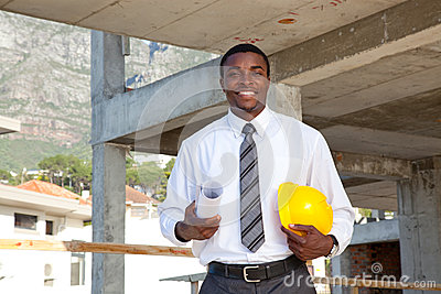 African man in building site
