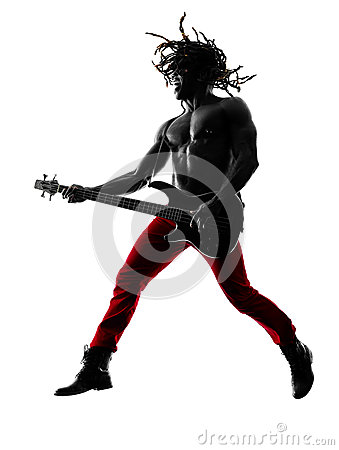 Free African Man Guitarist Bassist  Player Playing Silhouette Royalty Free Stock Photo - 49694025