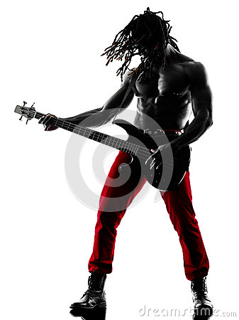 Free African Man Guitarist Bassist  Player Playing Silhouette Royalty Free Stock Image - 50078116