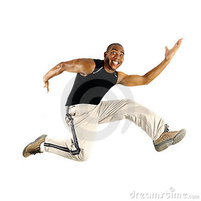 African man jumping