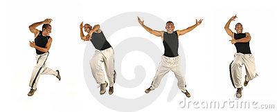 African man jumping in 4 poses