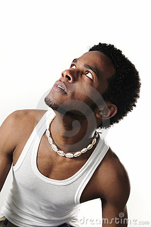 African man looking up