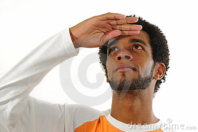 African man looking up isolated