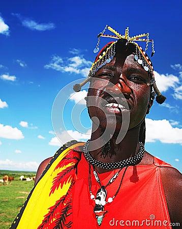 African man of Masai Mara tribe Editorial Stock Image