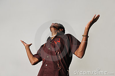 African man with open arms