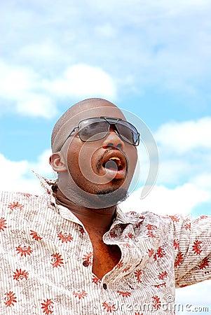 African man singing