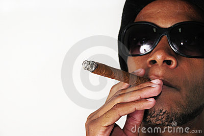 African man smoking