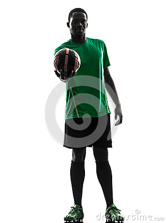 African man soccer player  hoding showing football silhouette