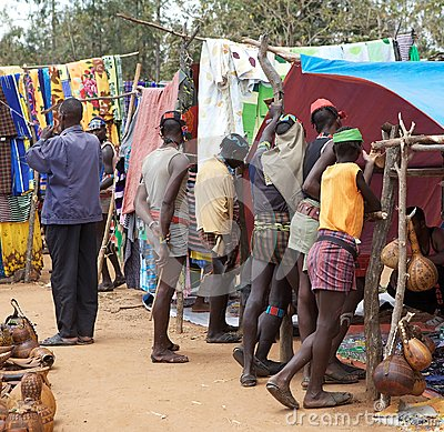 African tribal men at the market