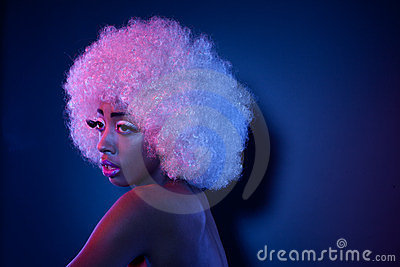 African Model In Afro Wig