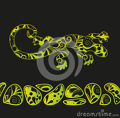 African motives floral lizard background