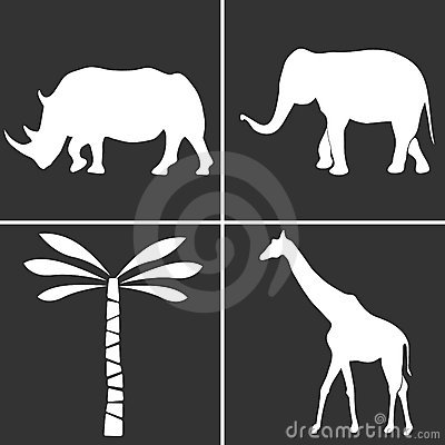 African nature silhouettes set