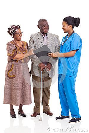 African nurse senior couple