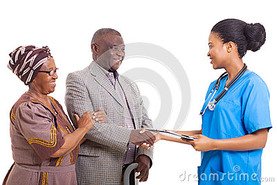African nurse senior patient