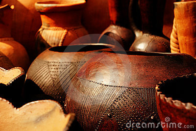 African pots for sale at a market in South Africa