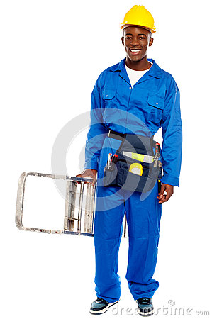 Free African Repairman Holding Stepladder Royalty Free Stock Photos - 25883598