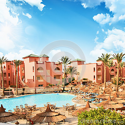 African resort with luxury swimming pool. Egypt