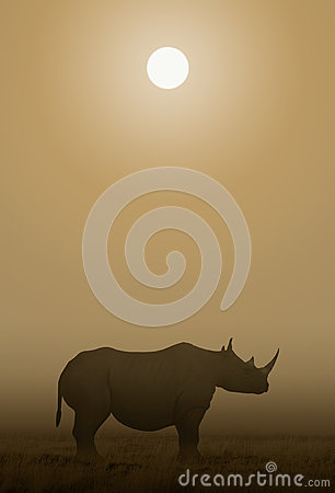 African Rhino Sawanna Cartoon Illustration