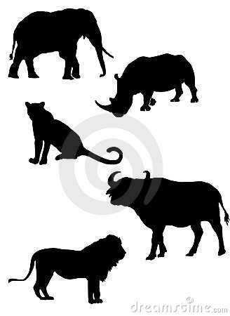 African s big five silhouettes