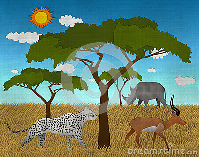 African safari with Elephant Lion and impala made form recycled paper