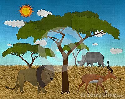 African safari made from paper art
